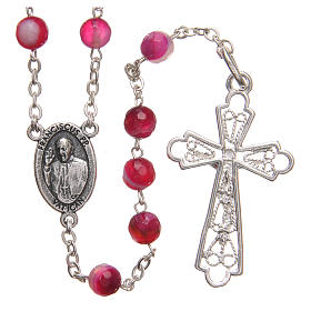 STOCK Rosary beads in Brazilian agate and sterling silver with Jubilee symbol 6mm fuchsia s2