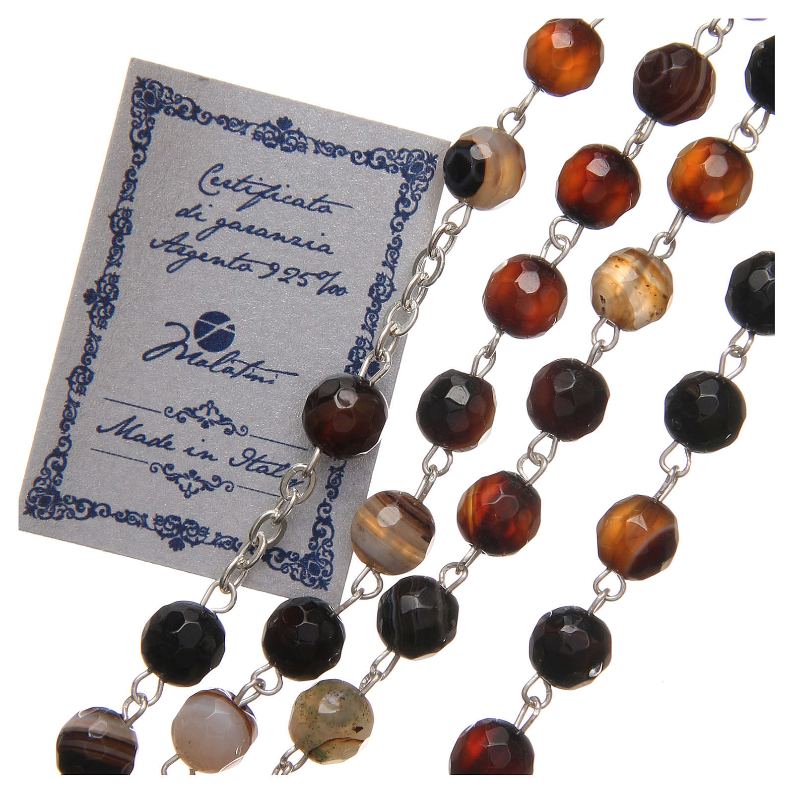 STOCK Rosary beads in Brazilian agate and sterling silver with Jubilee symbol 6mm brown 4