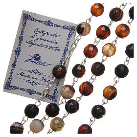 STOCK Rosary beads in Brazilian agate and sterling silver with Jubilee symbol 6mm brown s3
