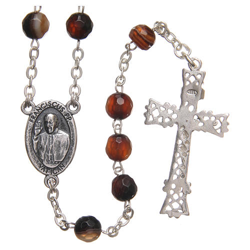 STOCK Rosary beads in Brazilian agate and sterling silver with Jubilee symbol 6mm brown 2