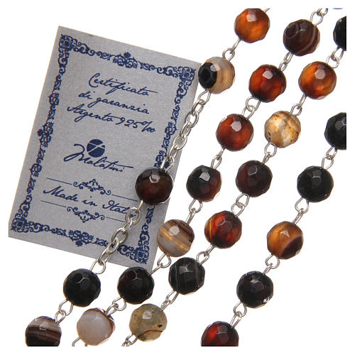 STOCK Rosary beads in Brazilian agate and sterling silver with Jubilee symbol 6mm brown 3