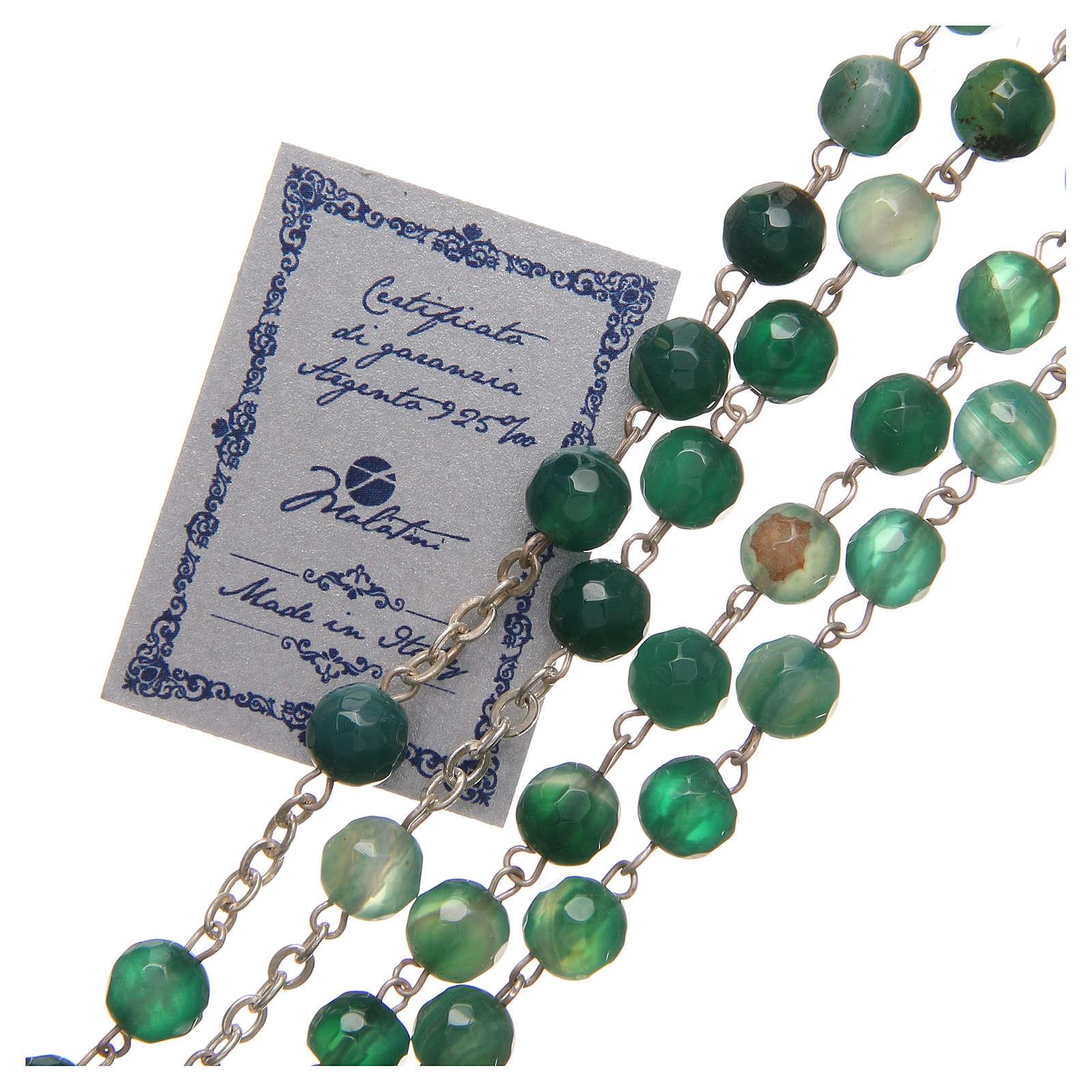Rosario Ágata brasileña Jubileo plata 925 verde 6 mm 4