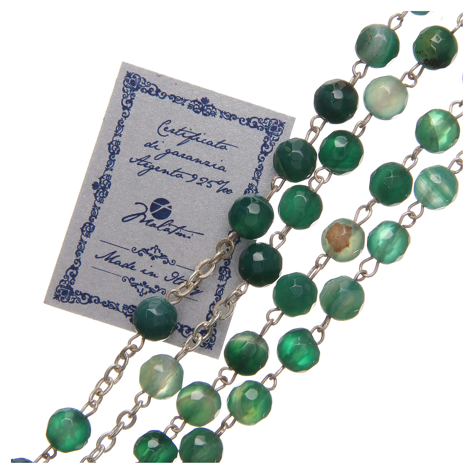 Rosario agata brasiliana Giubileo 6 mm argento 925 verde 4