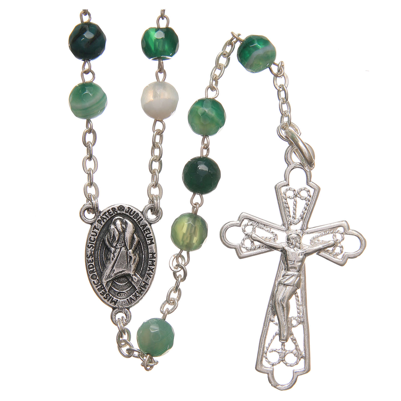 Rosary beads in Brazilian agate and sterling silver with Jubilee symbol 6mm green 4