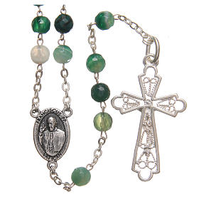 Rosary beads in Brazilian agate and sterling silver with Jubilee symbol 6mm green s2