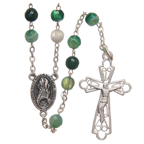 Rosary beads in Brazilian agate and sterling silver with Jubilee symbol 6mm green 1
