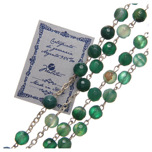 Rosary beads in Brazilian agate and sterling silver with Jubilee symbol 6mm green 3