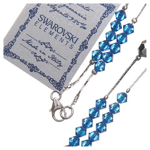 Chapelet Swarovski et argent 925 grains 4 mm bleu 3