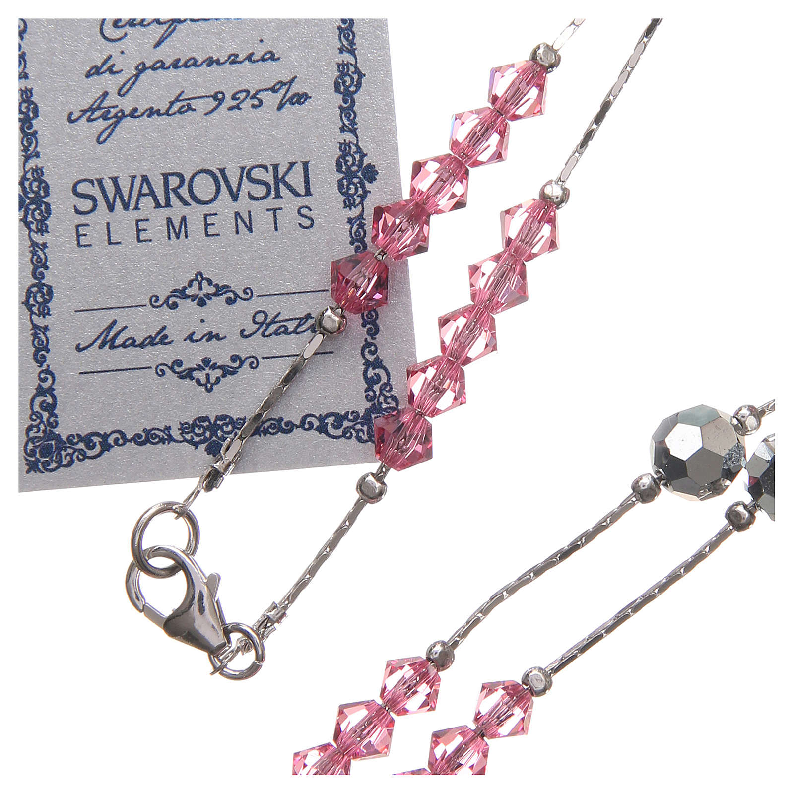 Rosario Swarovski y plata 925 cuentas de 4 mm rosa 4