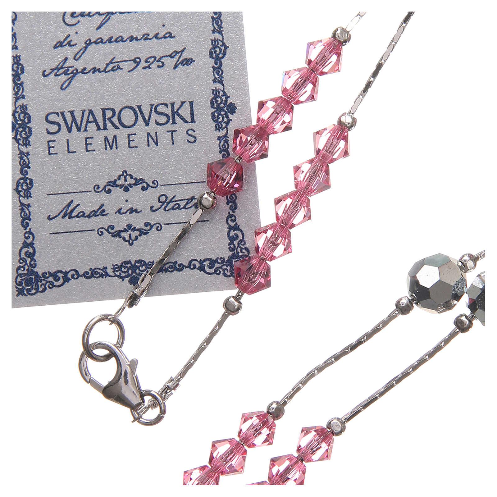 Rosario Swarovski e argento 925 grani 4 mm rosa 4