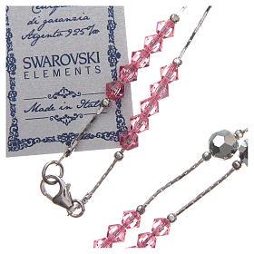 Rosario Swarovski e argento 925 grani 4 mm rosa s3