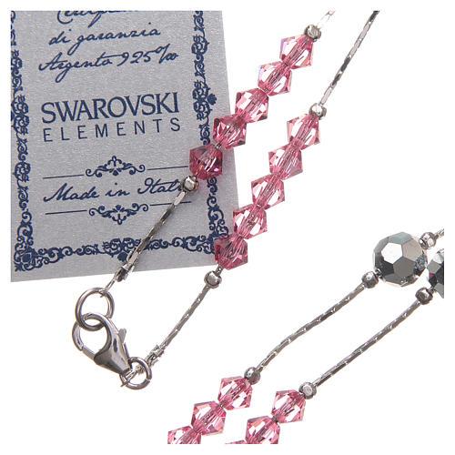 Rosario Swarovski e argento 925 grani 4 mm rosa 3