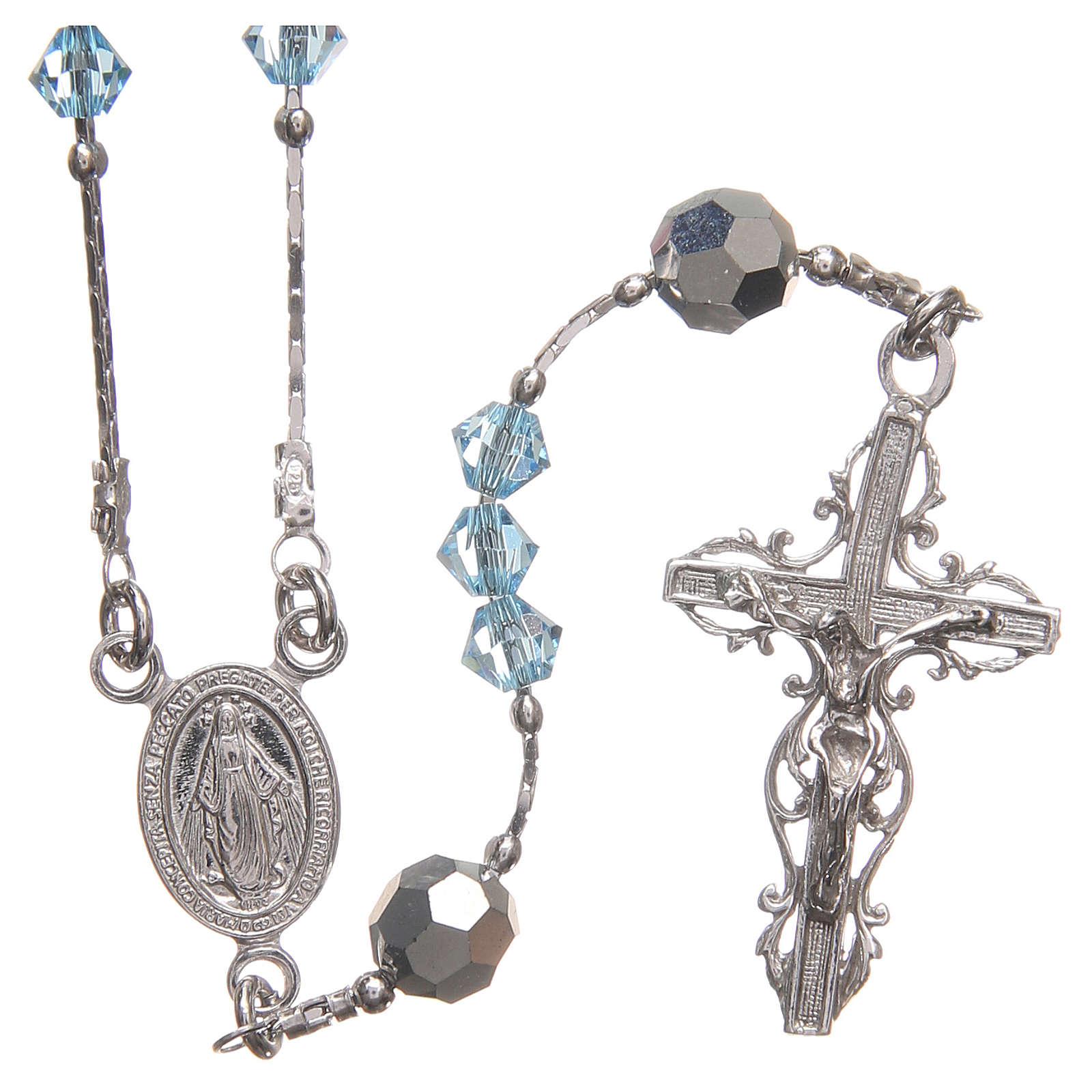 Rosario Swarovski e argento 925 grani 4 mm azzurro 4