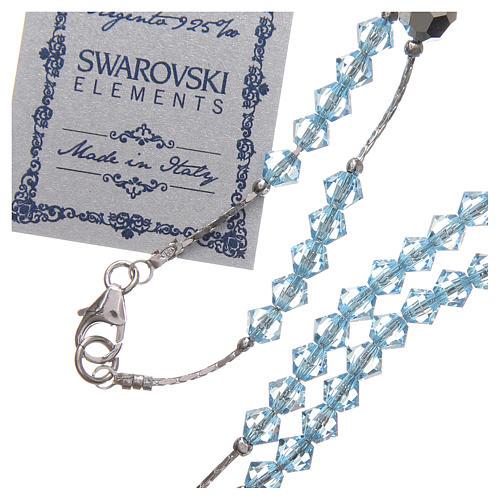 Rosario Swarovski e argento 925 grani 4 mm azzurro 3