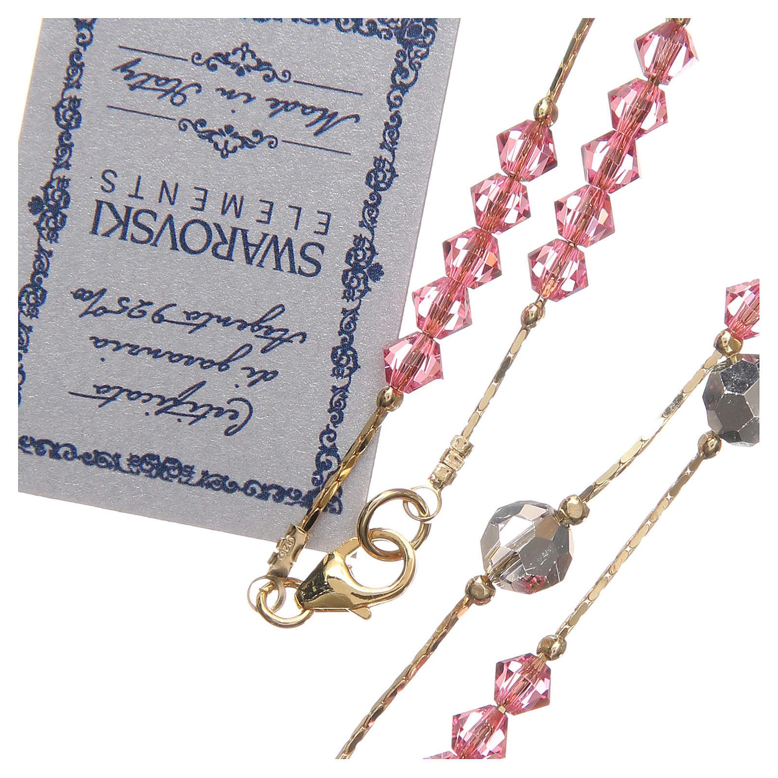 Rosario Swarovski e argento 925 dorato 4 mm rosa 4