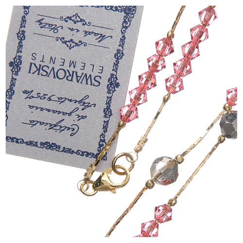 Rosario Swarovski e argento 925 dorato 4 mm rosa 3