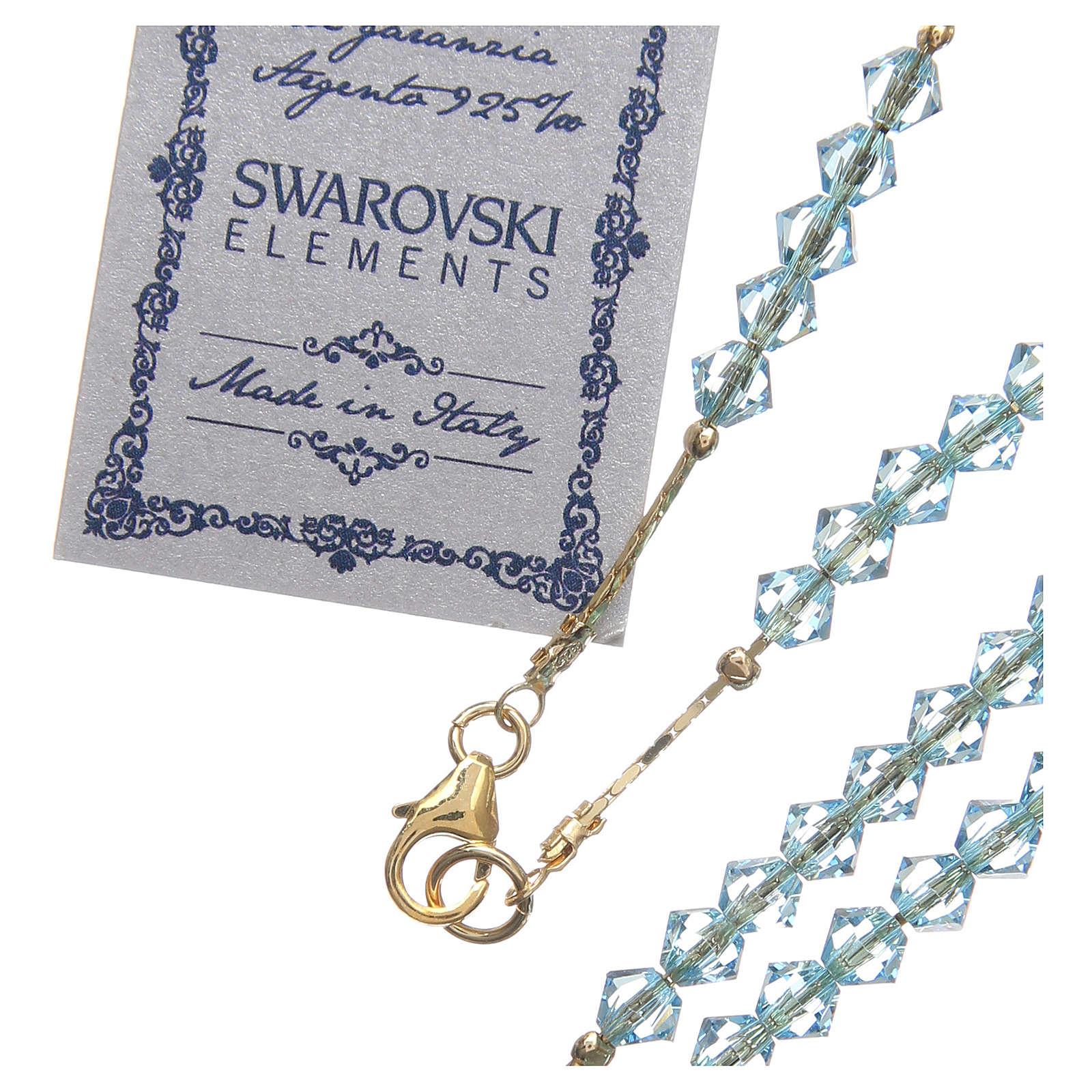 Chapelet Swarovski et argent 925 doré 4 mm bleu ciel 4