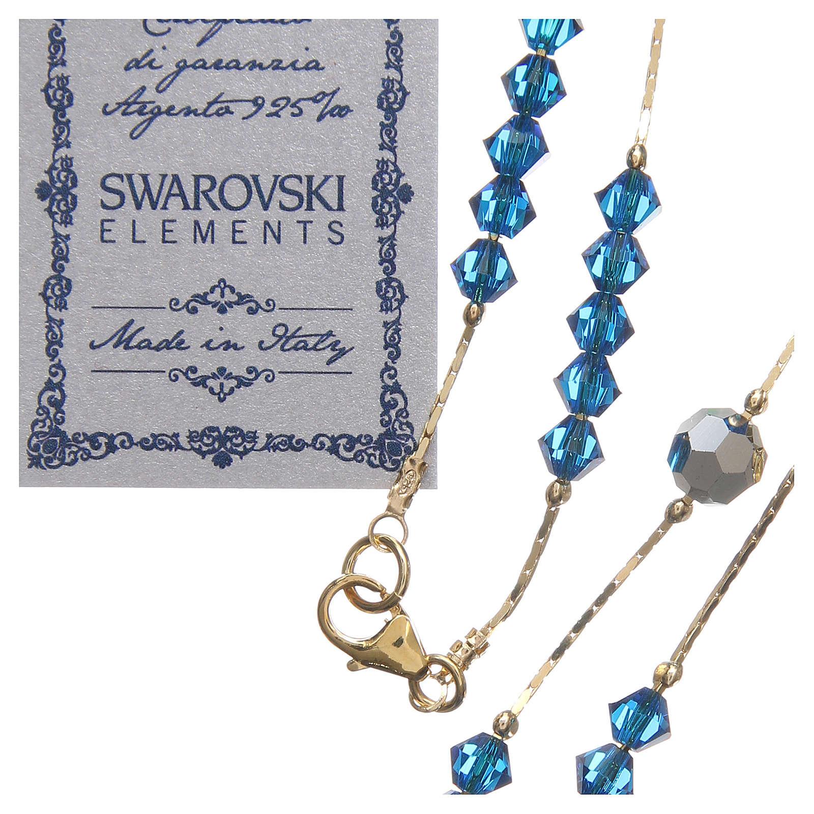 Rosario Swarovski e argento 925 dorato 4 mm blu Capri 4