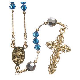 Rosario Swarovski e argento 925 dorato 4 mm blu Capri s2