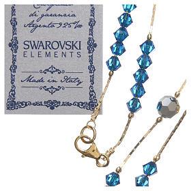 Rosario Swarovski e argento 925 dorato 4 mm blu Capri s3
