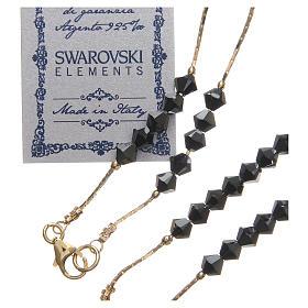 Rosario Swarovski e argento 925 dorato 4 mm nero s3