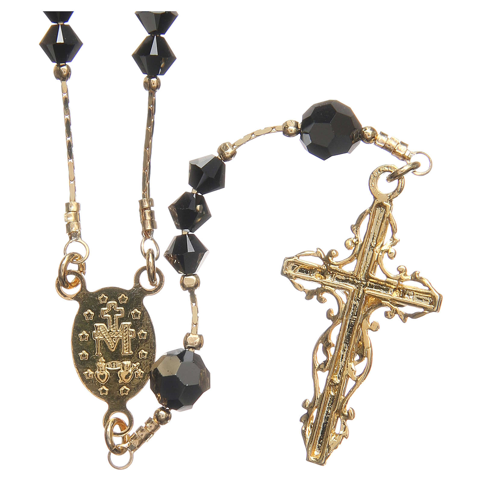 Rosary beads in Swarovski and golden sterling silver 4mm black 4