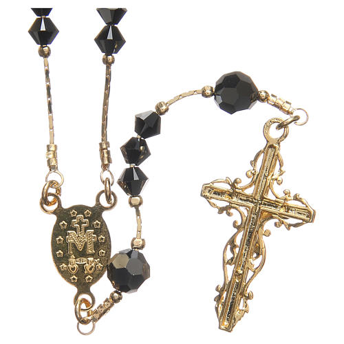 Rosary beads in Swarovski and golden sterling silver 4mm black 2