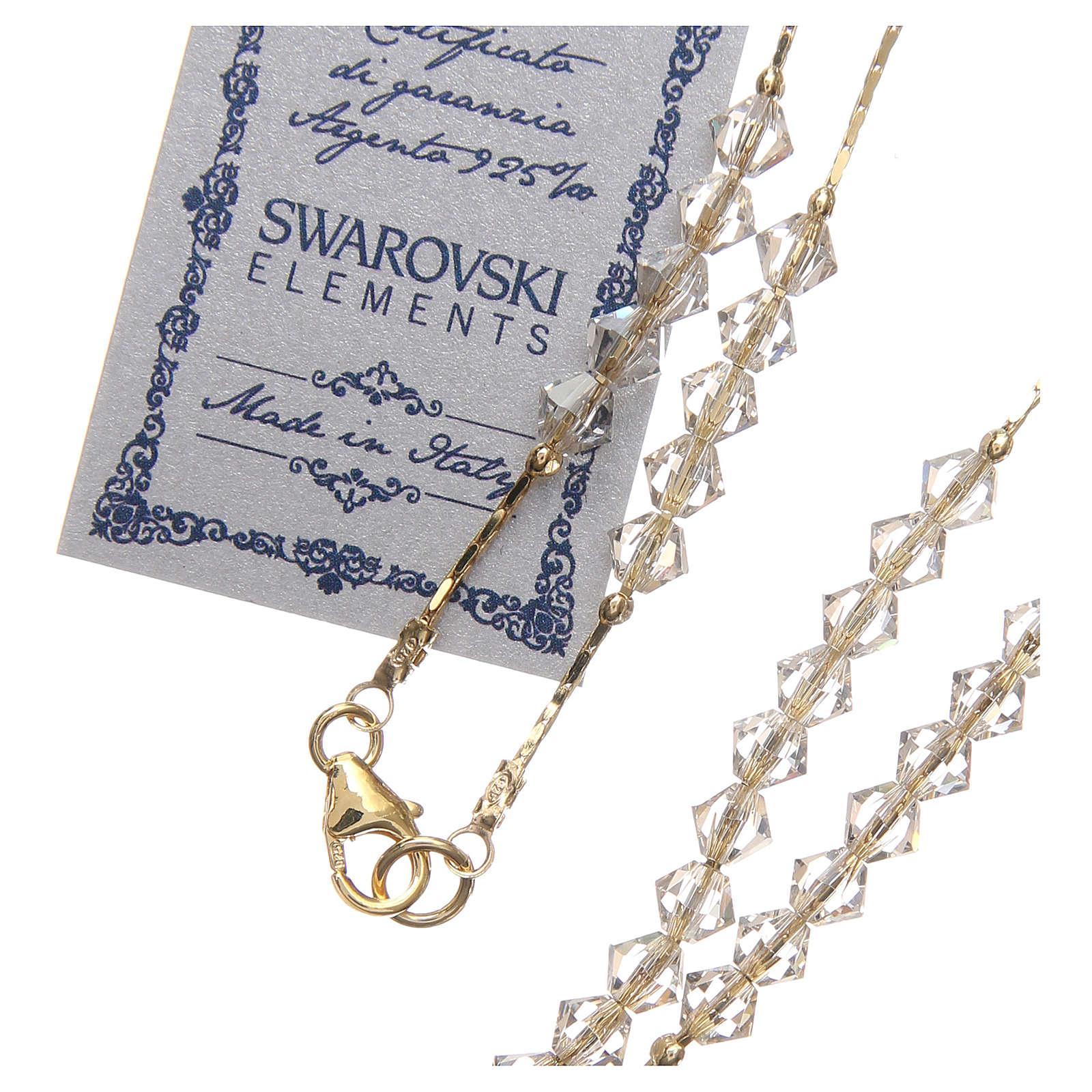 Rosario Swarovski e argento 925 dorato 4 mm borealizzato 4