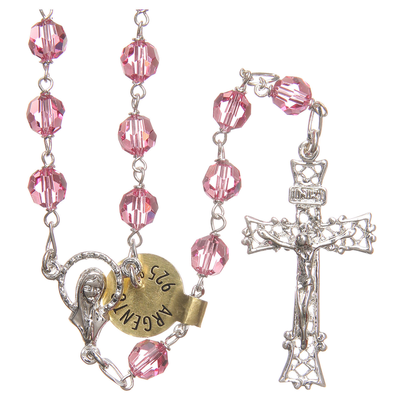 Rosary beads in Swarovski and golden sterling silver 6mm pink 4