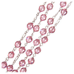 Rosary beads in Swarovski and golden sterling silver 6mm pink s3