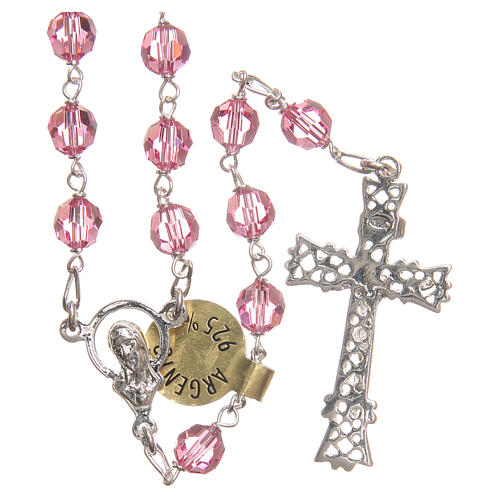 Rosary beads in Swarovski and golden sterling silver 6mm pink 2