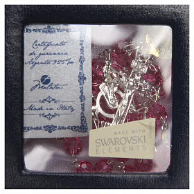Rosario argento 925 Swarovski rosa 6 mm s4