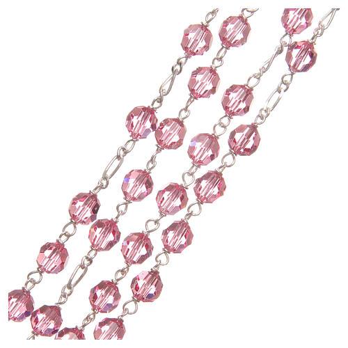 Rosario argento 925 Swarovski rosa 6 mm 3