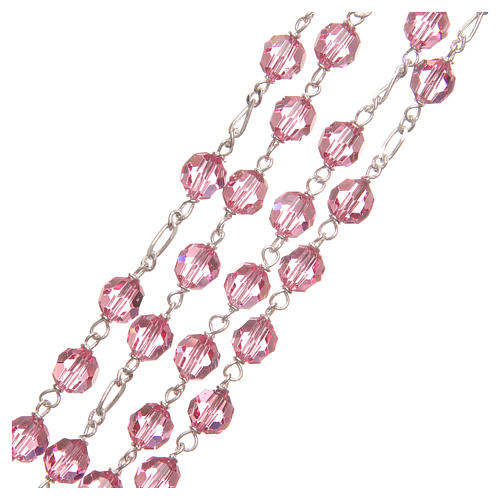 Rosary beads in Swarovski and golden sterling silver 6mm pink 3
