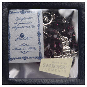 Rosario argento 925 Swarovski ametista 6 mm s4