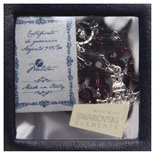 Rosario argento 925 Swarovski ametista 6 mm 4