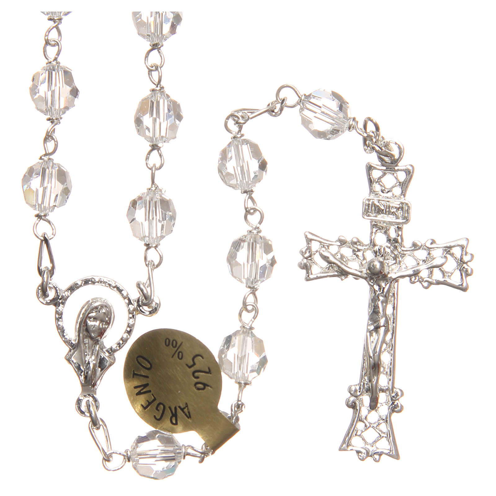 Rosary beads in Swarovski and sterling silver 6mm white 4