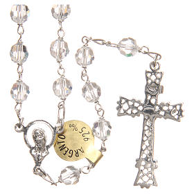 Rosary beads in Swarovski and sterling silver 6mm white s2