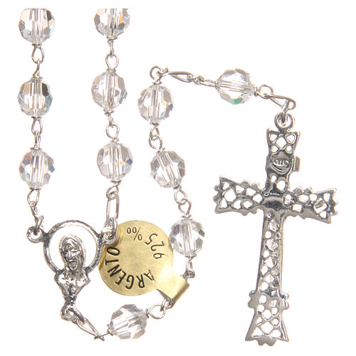 Rosary beads in Swarovski and sterling silver 6mm white 2