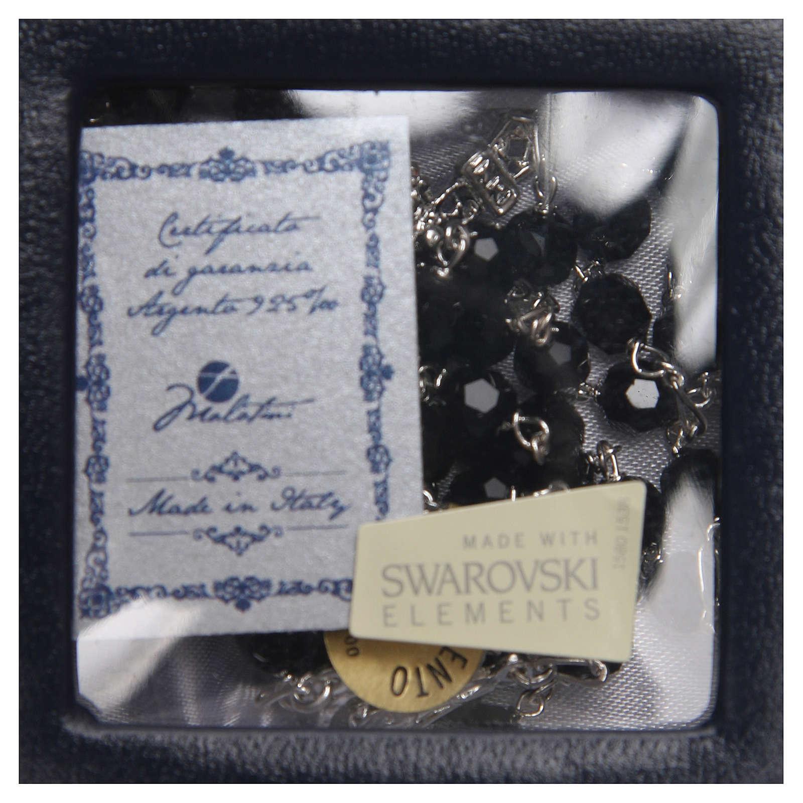 Chapelet argent 925 Swarovski noir 6 mm 4