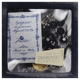 Chapelet argent 925 Swarovski noir 6 mm s4