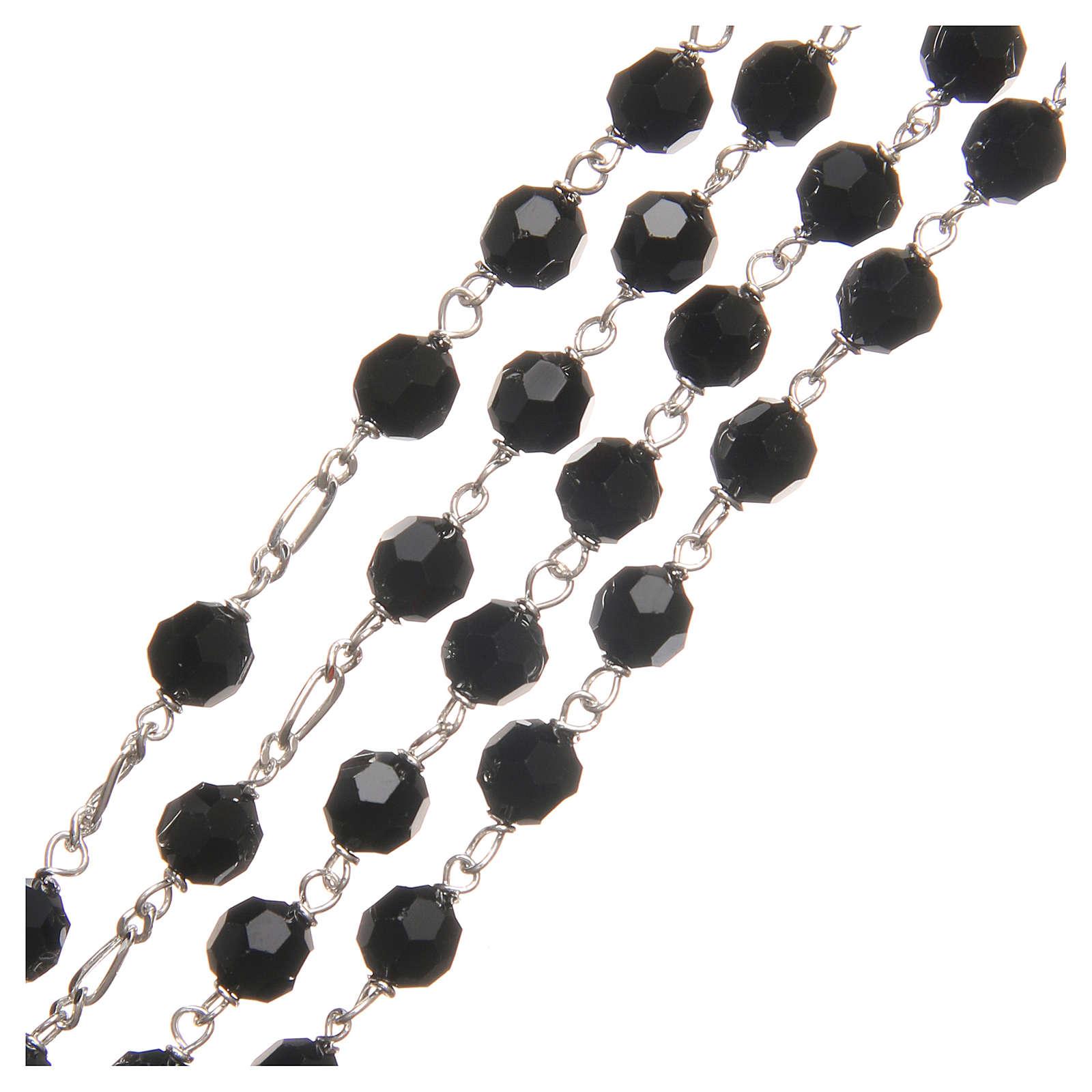 Rosario argento 925 Swarovski nero 6 mm 4