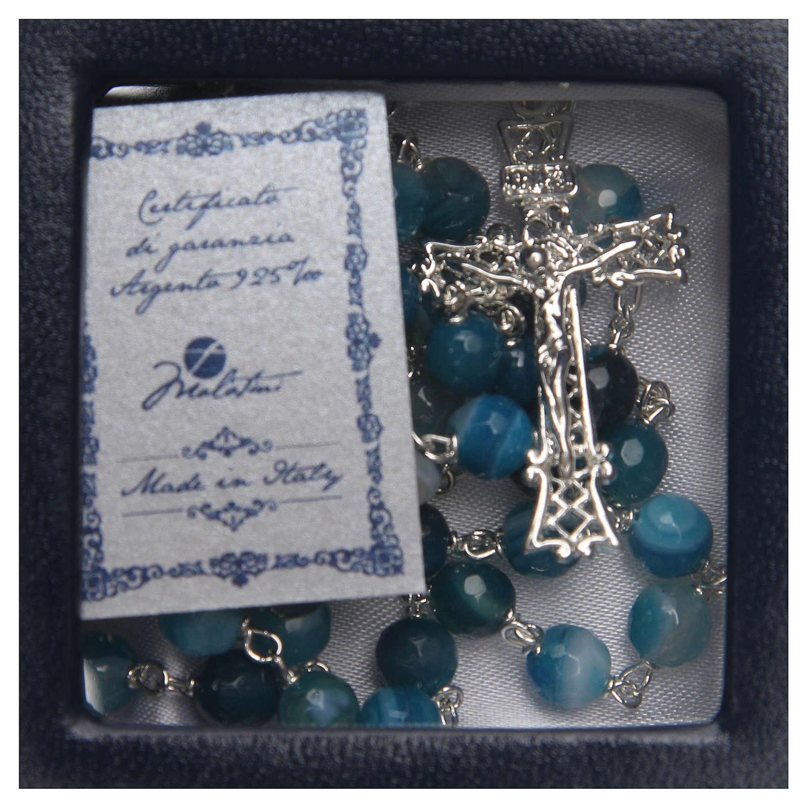 Rosario plata ágata brasileña entallada azul 6 mm 4
