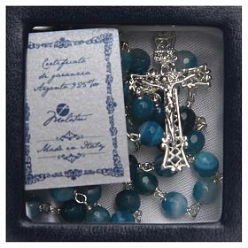 Rosario plata ágata brasileña entallada azul 6 mm s4