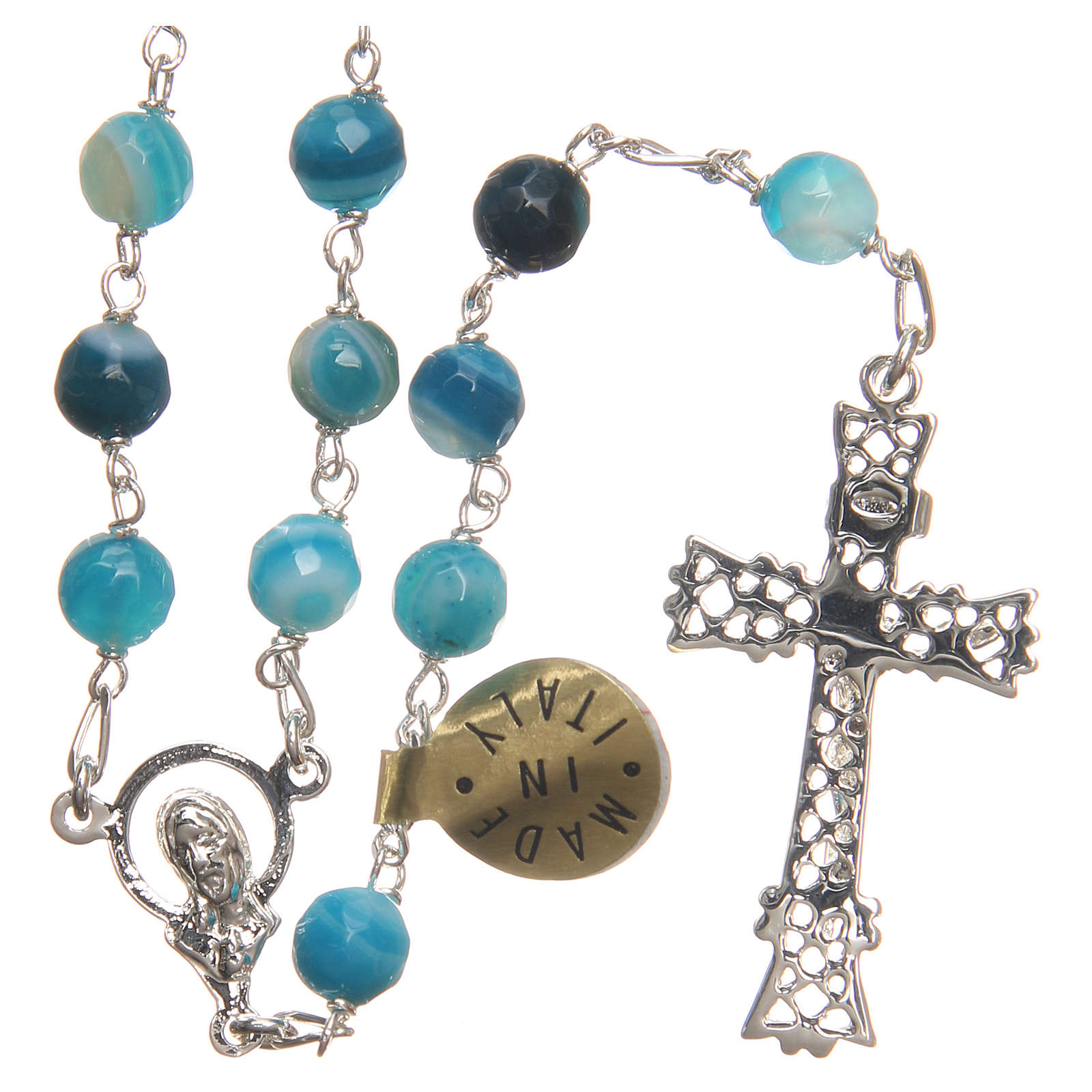 Rosary beads in Brazilian agate and sterling silver 6mm blue 4