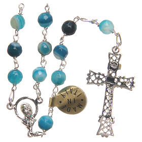 Rosary beads in Brazilian agate and sterling silver 6mm blue s2