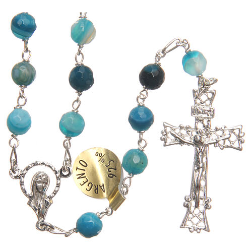 Rosary beads in Brazilian agate and sterling silver 6mm blue 1