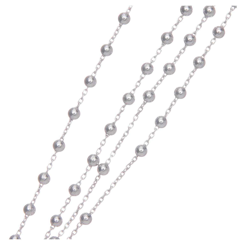 Collana rosario AMEN classico argento 925 fin. Rodio 4
