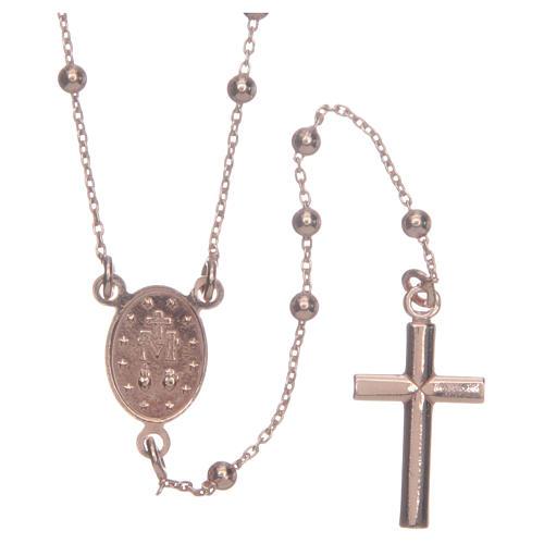 Collar Rosario AMEN clásico 2,5 mm plata 925 acabado Rosè 2