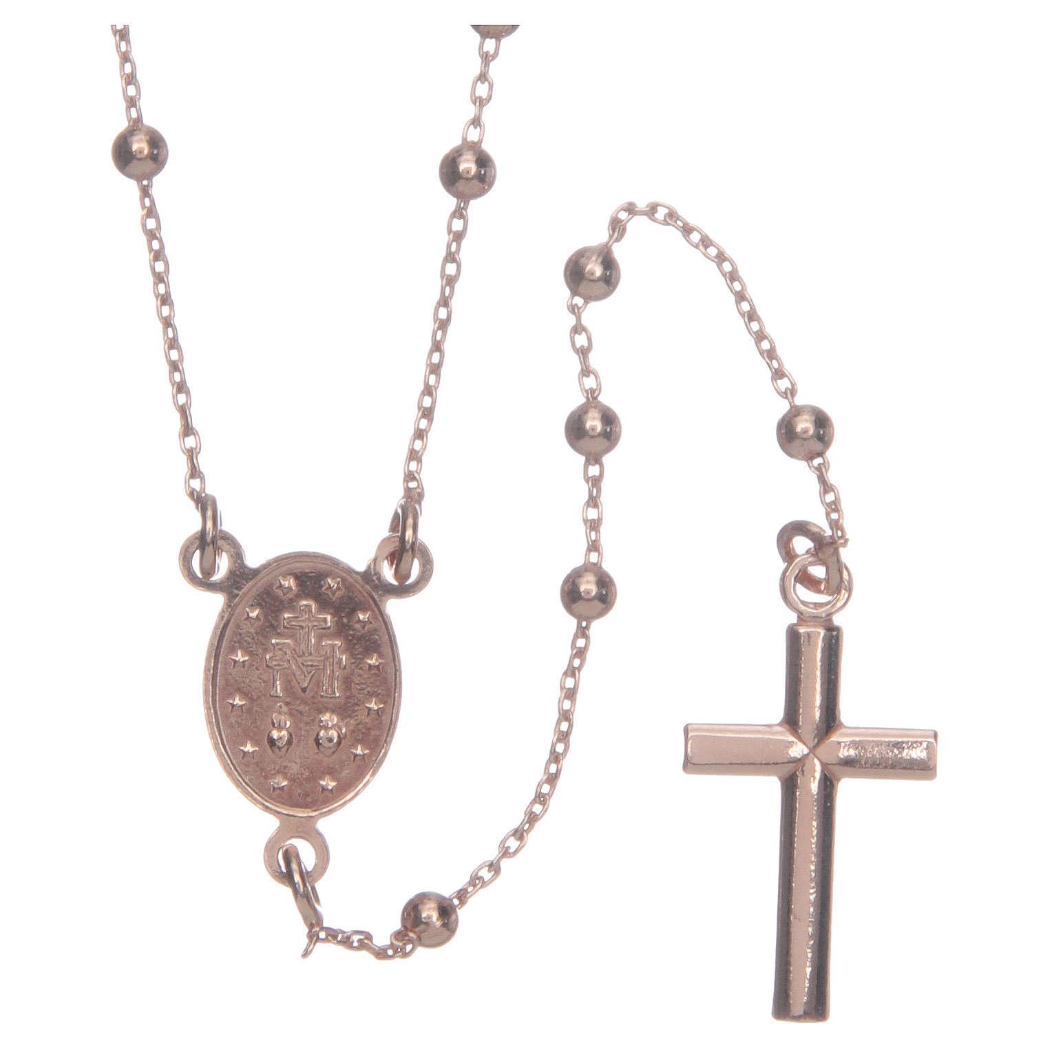Collana rosario AMEN classico argento 925 fin. Rosè 4